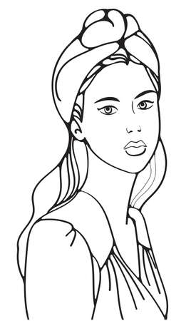 illustration outline portrait girl with hat and blouse, fashion model