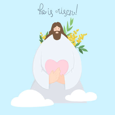 """Cute illustration of Jesus Christ holding a heart in his hands against the background of the sky and clouds, behind a green branch with flowers. The inscription """"He is risen"""" on a blue background"""