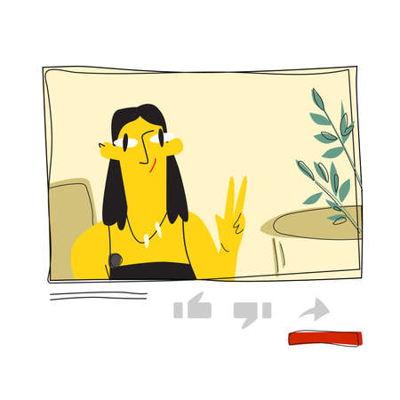 """A young blogger girl speaks on YouTube and shows the """"Victory"""" sign. Vector flat illustration on white background"""