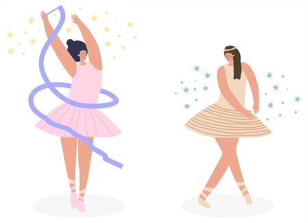 Set of ballerinas in tutu and pointe shoes, dancing and posing. Modern flat vector illustration Vettoriali