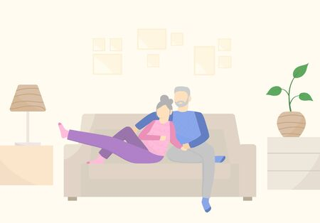 Happy couple relaxing, sitting on sofa and dreaming. Old people lifestyle. Vector flat illustration Vettoriali