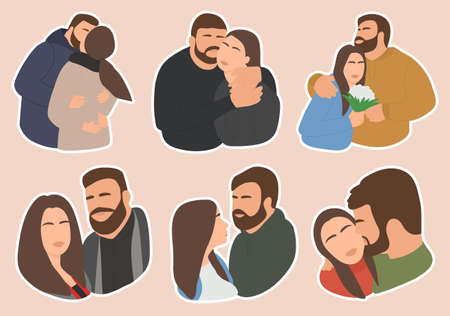 A set of stickers for a couple in love on an isolated neutral background 向量圖像