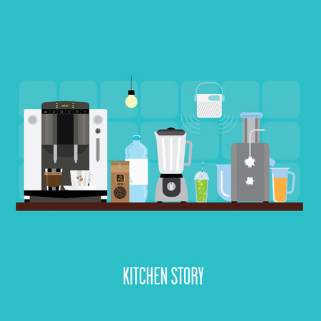 kitchen appliances: banner with kitchen appliances.