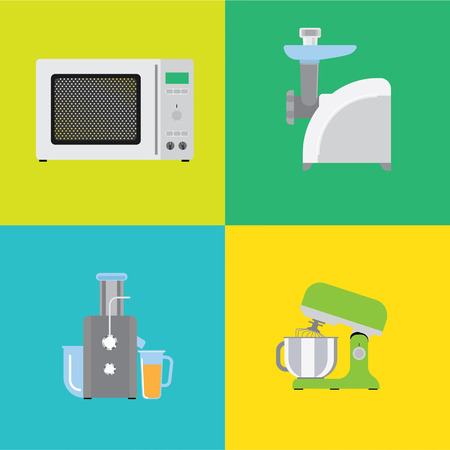 Four banners with different types of kitchen appliances.