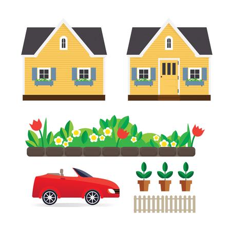 Klein huis met een bloementuin, machine-interface, een hek en potplanten. Illustratie met schattige gele huis. Vector huis. Vector Illustratie