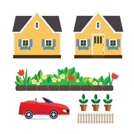 Small house with a flower garden, machine interface, a fence and potted plants. Illustration with cute yellow house. Vector house.