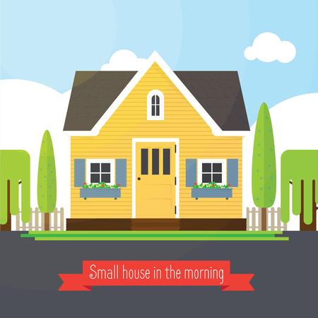 Petite maison dans la matinée. illustration d'une maison jaune mignon. maison de Vector.