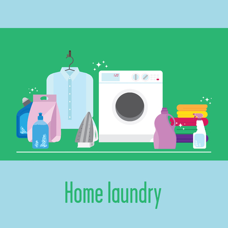 spot clean: Illustration of laundry with a washing machine, pure white shirt, some colourful towels, iron, detergents, brush and sponge. Dont forget to keep your clothes clean and ironed, its very important! Illustration