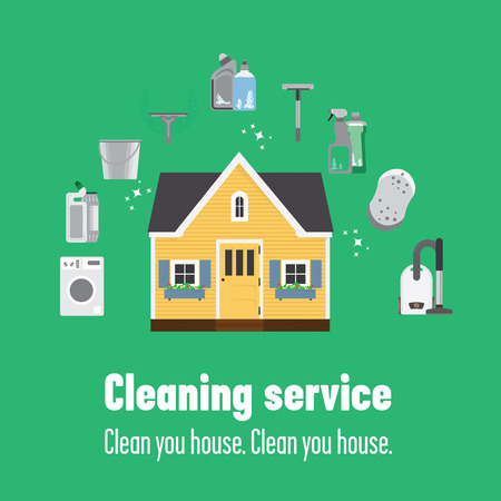 wooden bucket: Wooden house and some instruments to clean it: mop, vacuum cleaner, washing machine, cleanser, bucket. A good way to clean your house completely is to call to cleaning service, they can help you.