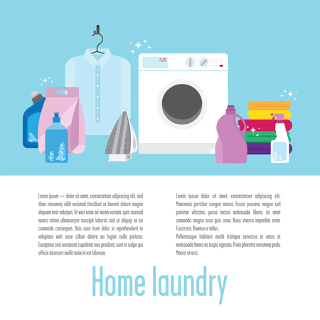 manually: Illustration of laundry with a washing machine, pure white shirt, some colourful towels, iron, detergents, brush and sponge. Dont forget to keep your clothes clean and ironed, its very important! Illustration