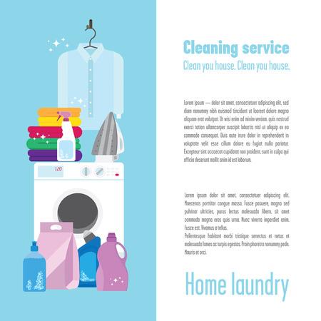 Illustration de buanderie avec une machine à laver, chemise blanche pure, un peu coloré serviettes, fer, détergents, brosse et éponge. Ne pas oublier de garder vos vêtements propres et repassés, il est très important!