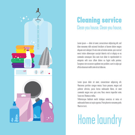 Illustration of laundry with a washing machine, pure white shirt, some colourful towels, iron, detergents, brush and sponge. Don't forget to keep your clothes clean and ironed, it's very important!