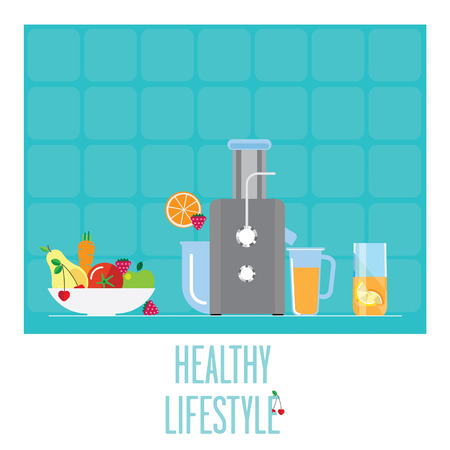 obtain: Compact juicer for the kitchen. Bowl with fruits and vegetables to obtain juice. All the juice for a healthy Breakfast.