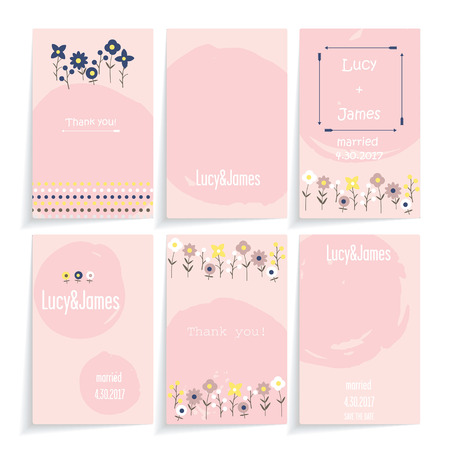A set of cards with floral design. Six different in decor cards in one color. Background white. Cards with shadow.