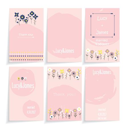 Un ensemble de cartes avec la conception florale. Six différentes dans les cartes de décoration en une seule couleur. Fond blanc. Cartes avec l'ombre.
