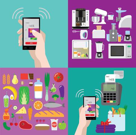 買い物、調理技術、食品に関するイラストのセット