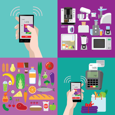 smartphone apps: set of illustrations about shopping, cooking technique and food