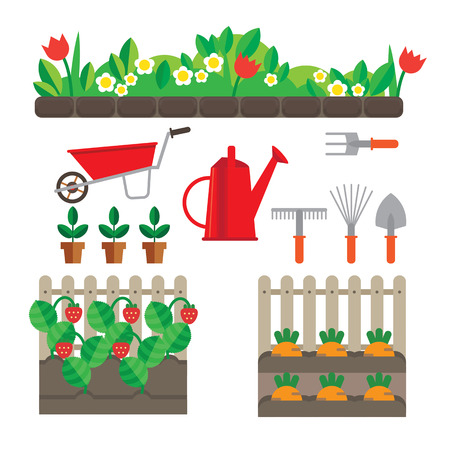 pest control equipment: Set of stylized plots oyewumi and berries. Also have garden tools. Illustration