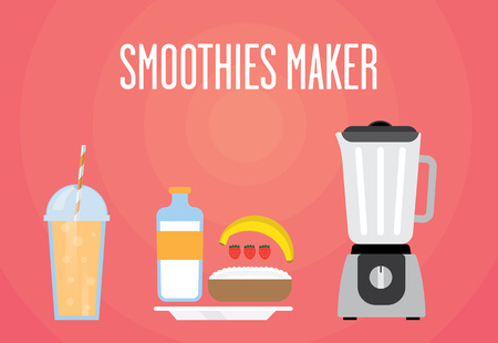 cottage cheese: Modern blender with milk smoothie. Contains milk, strawberries, banana, cottage cheese. Milk all smoothies for a healthy Breakfast.