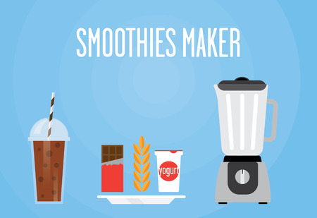 chocolate shake: Modern blender with a chocolate shake. Eat chocolate, cereal, yogurt mixed. All chocolate smoothie for a healthy Breakfast.