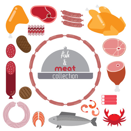 roast lamb: Set of meat and seafood. It contains beef, steak, ham, sausage, crab, fish, shrimp, protein