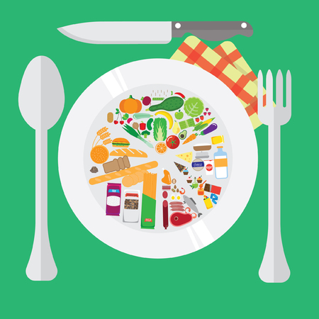 home cooking: healthy food. chart on the plate. home cooking Illustration