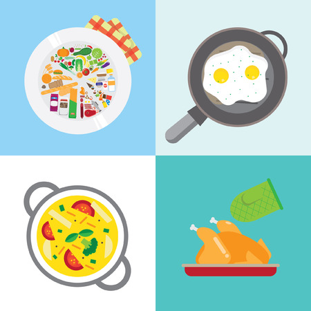pans: Banners about food. Preparing home-cooked meal. pans and pots with food. With soup and cutlets, eggs and vegetables to sandwiches. Illustration
