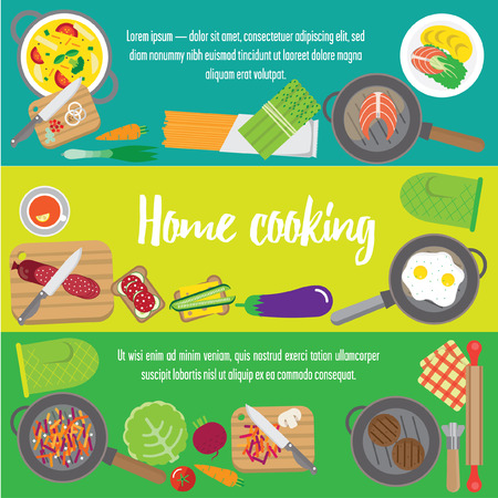 preparing: Banners about food. Preparing home-cooked meal. pans and pots with food. With soup and cutlets, eggs and vegetables to sandwiches. Illustration