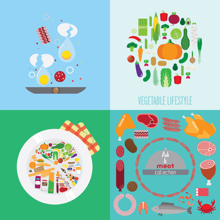 banners about food. breakfast, food, bacon, vegetables, meat products set, plate with healthy food chart.