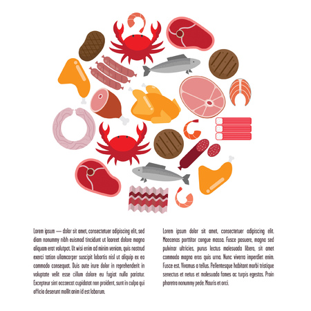 crucian carp: Flat template with meat and fish. Containing sausage, ham, salmon, chicken. Background white.