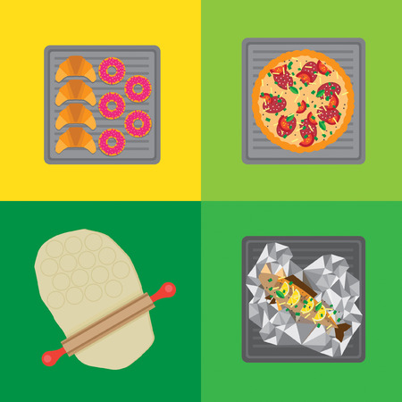 baked potatoes: Flat food icons on a baking sheet. It contains sweet pastries, pizza, fish in foil and rolled out dough. Illustration