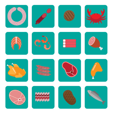 fillet: Flat icons with meat and fish. Containing sausage, ham, salmon, chicken. Background white.