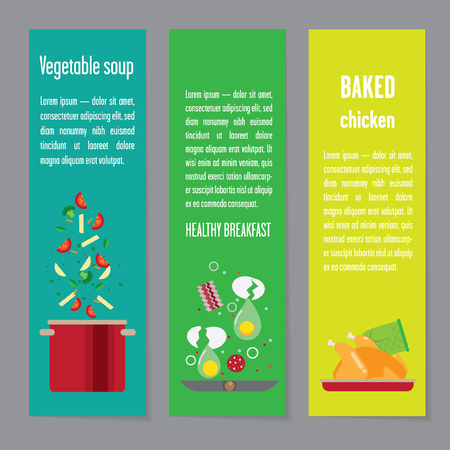 preparing food: Banners about food. Preparing home-cooked meal. pans and pots with food. With soup and cutlets, eggs and vegetables. Illustration