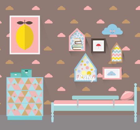 Sitio Del Bebé Con Muebles. Entre Vivero. Estilo De Ilustración ...
