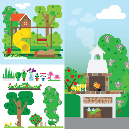 schoolyard: vacation set of illustrations in the air. It includes a playground, patio with barbecue oven and set of garden plants.
