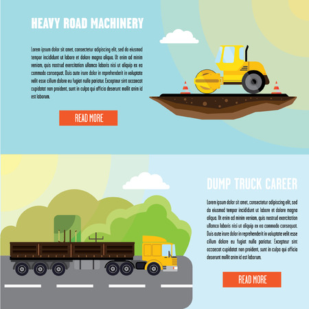 Banners truck and road rollers. There is a place for the header and text. Illustration