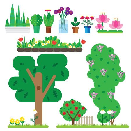 set of flat plant. It includes flower pots, bouquet in a vase, tree, bushes with flowers Ilustração