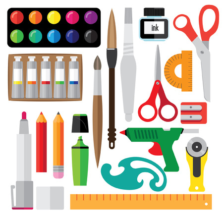 paint tube: set of creative tools. It consists of a pencil, brush, paint, tube, brush with the reservoir.