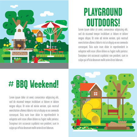 patio set: set of illustrations weekend picnic. It includes a playground, patio with barbecue oven and set of garden plants. Illustration