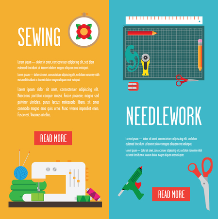 mounting: Banners with tools for needlework. contain the mounting mat, round knife, hoop, sewing machine. Vector flat.