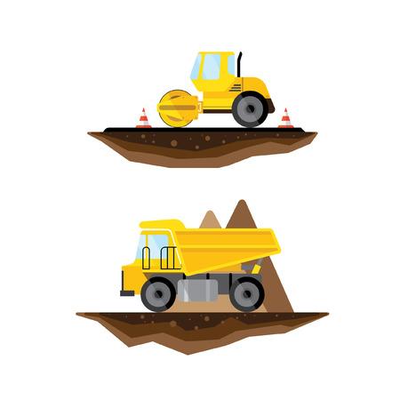asphalt: Vector flat truck and asphalt