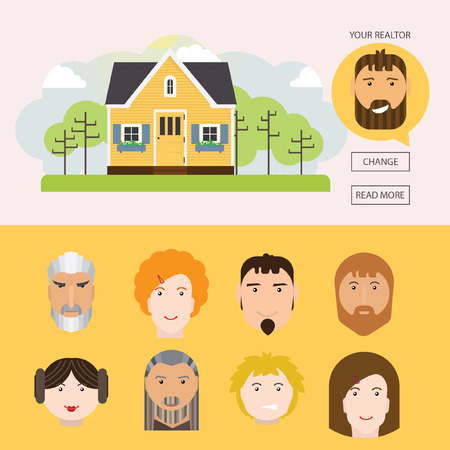 sales manager: Banners on the home sales. It contains home sales, realtor, manager selection. Illustration
