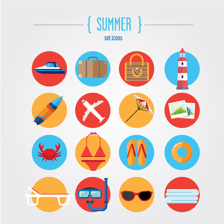 Icons summer holiday