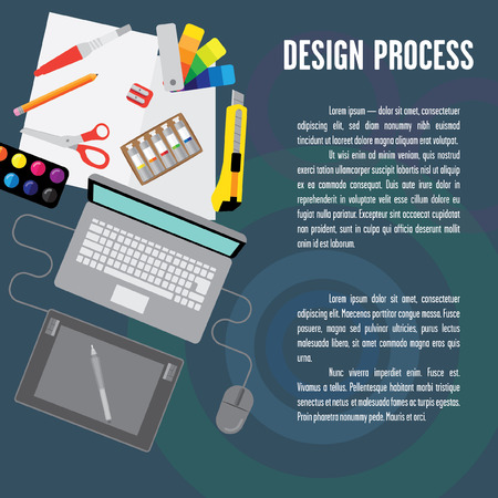 a place for the text: Layout design process. It contains a laptop, tablet, computer mouse, a stylus and a place for text