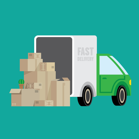 illustrates: Illustration with a truck and boxes. Illustrates moving, changing apartments, fast delivery of goods.