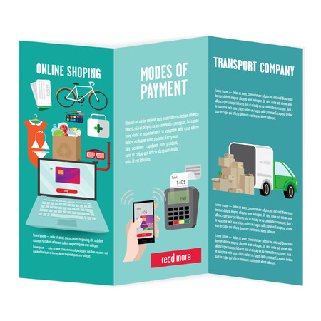 illustrates: Brochure workflow for online shopping. With a laptop, the goods with the truck and boxes. It illustrates the quick delivery of goods, payment options for purchases.