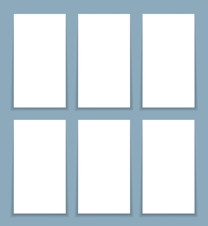 proportional: proportional form, the template for the six business card blank with shadow.