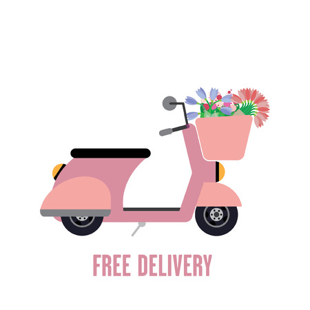moped: Flat moped illustration with flowers in a basket Illustration