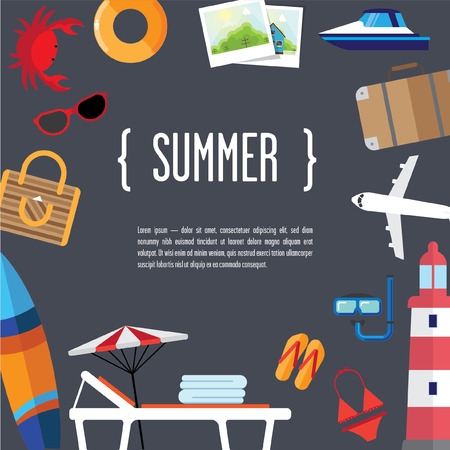 diving board: with attributes of summer vacation by the sea layout template