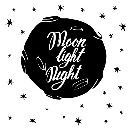 actors: Moonlight night. Monochrome illustration of the moon and stars with actors. On the moon, the word moon night. Background white.